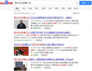 """百度检索""""高中生炒股赚4.5亿""""结果"""